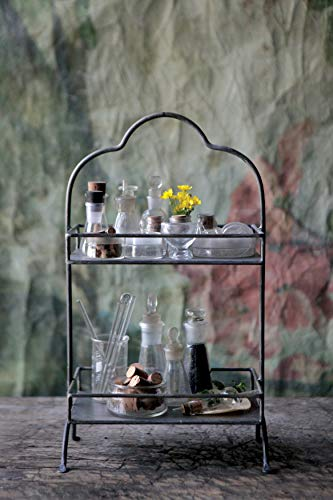(FROM USA) Creative Co-op Decorative Metal Two Tier Tray with Handle, 10.6 &qu