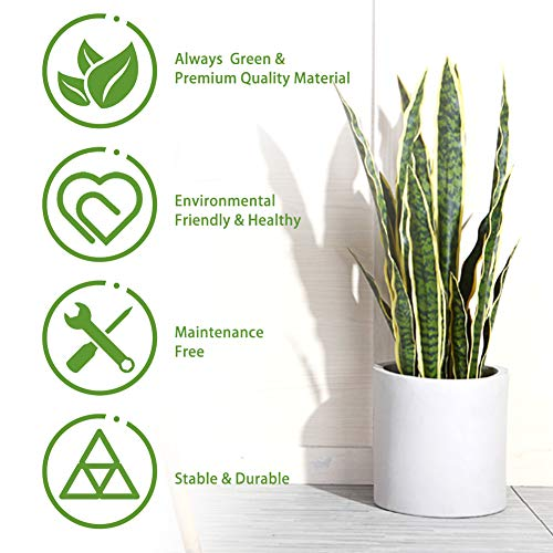 (FROM USA) CROSOFMI Artificial Snake Plant 35.4 Inch Fake Sansevieria Tree Wit