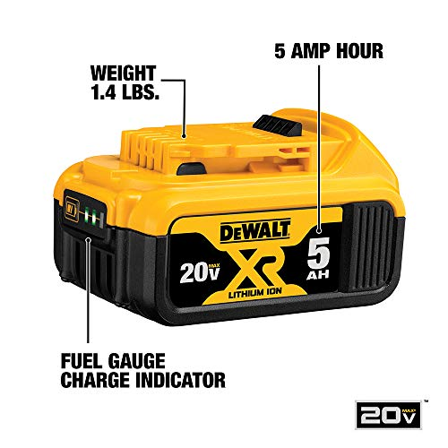 From USA DEWALT 20V MAX Battery and Charger Kit with Bag, 5.0Ah (DCB205CK)