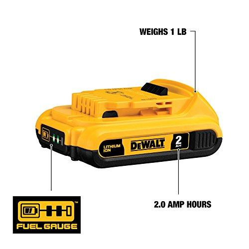 From USA DEWALT 20V MAX Battery, Compact 2.0Ah Double Pack (DCB203-2), Yellow