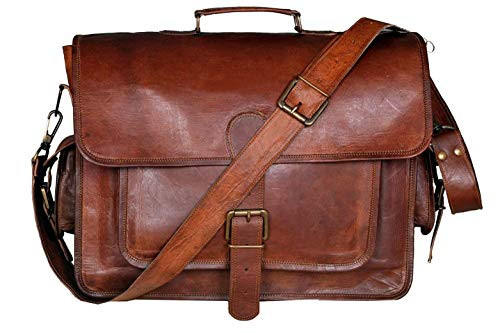 (FROM USA) DHK 18 Inch Unisex Handmade Leather Messenger Bag for Laptop Briefc