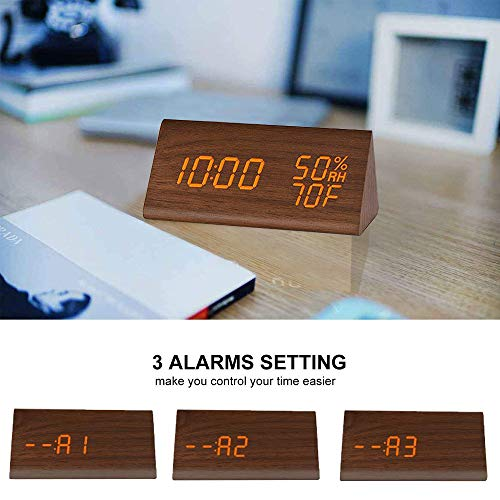 (FROM USA) Digital Alarm Clock, with Wooden Electronic LED Time Display, 3 Ala