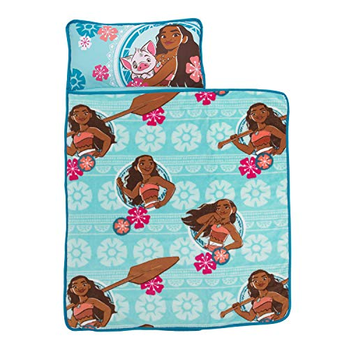 [From USA]Disney Moana Toddler Nap Mat with Attached Pillow and Blanket Aqua P