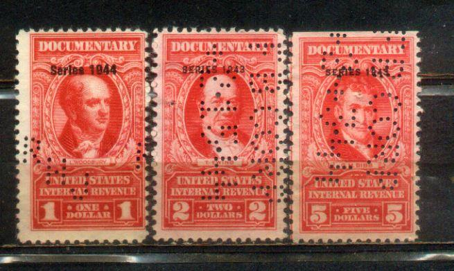 USA Documentary Revenues Stamps--Series 1943 & 44.