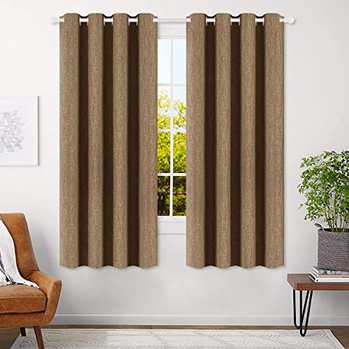 (FROM USA) BEST DREAMCITY Curtains Taupe 63 inch Bedroom Curtains Linen Textur