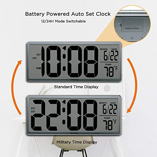 (FROM USA) DreamSky Extra Large Digital Wall Clock, Desk Clock, Auto Time Self