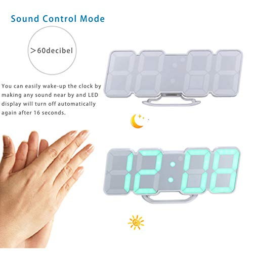 (FROM USA) EAAGD 3D Wireless Remote Digital Wall Alarm Clock, with 115 Color V