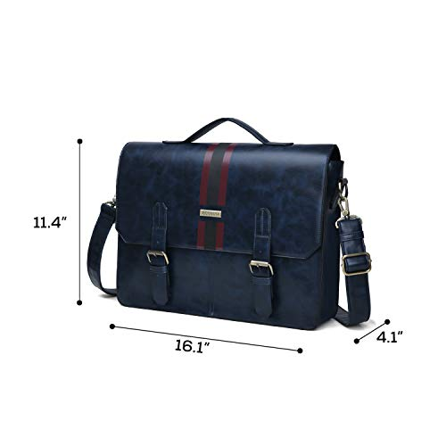 (FROM USA) ECOSUSI Men's Briefcase PU Leather Shoulder Satchel Computer Bag wi