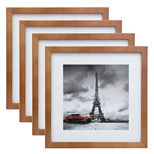 (FROM USA) Egofine 11x11 Picture Frames 4 Pack, Display Pictures 8x8 with Mat