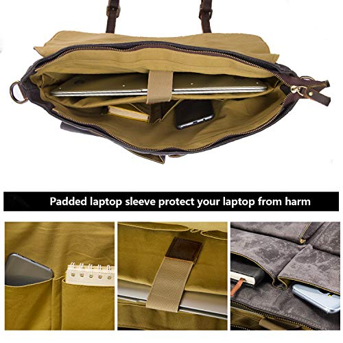 (FROM USA) emissary Laptop Messenger Bag (15.6'' Laptop Bag) Canvas and Leathe