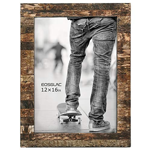 (FROM USA) Eosglac Wooden 12x16 Picture Frames, Rustic Birch Poster Photo Fram