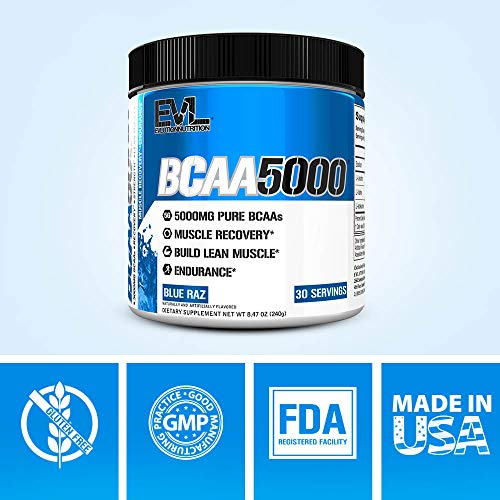(FROM USA) Evlution Nutrition BCAA5000 Powder 5 Grams of Branched Chain Amino