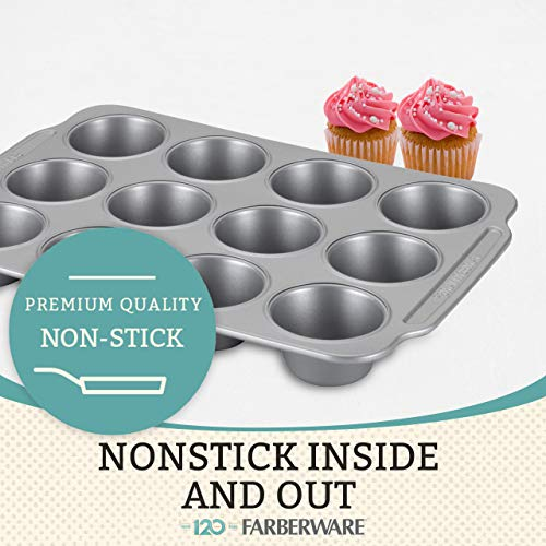(FROM USA) Farberware Nonstick Steel Bakeware Set with Cooling Rack, Baking Pa