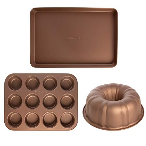 (FROM USA) Food  & Wine (3 Piece) Nonstick Bakeware Set Bundt Cake Pan Muffin