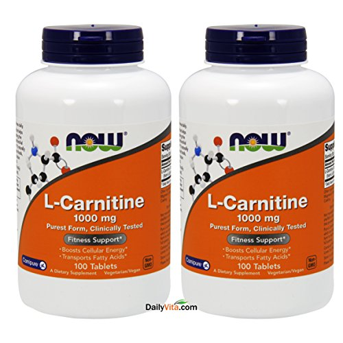 (FROM USA) NOW Foods L- Carnitine Tartrate 1000mg, 100 Tablets (Pack of 2)