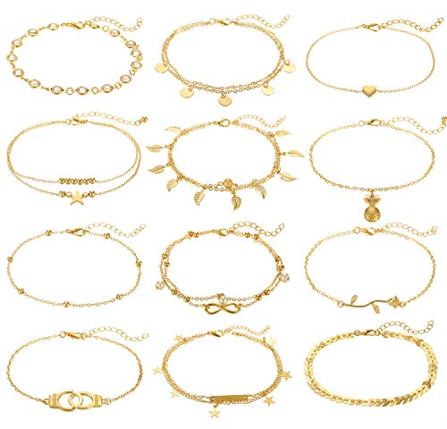 From USA FUNEIA 12Pcs Anklets for Women Silver Gold Ankle Bracelets Set Boho L