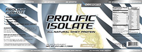 From USA G6 Sports Nutrition Prolific Isolate All Natural Whey Protein Isolate