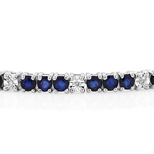 From USA Gem Stone King Sterling Silver Blue Sapphire and White Diamond Tennis