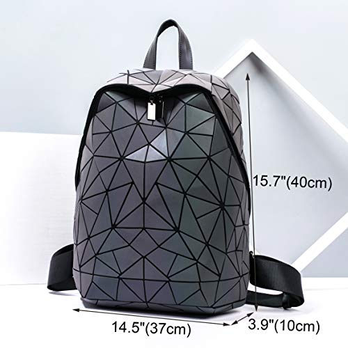 (FROM USA) Geometric Backpack Holographic Luminous Backpacks Reflective Bag Lu