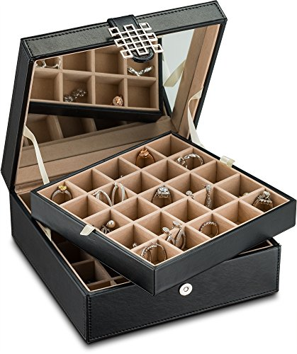 (FROM USA) Glenor Co Classic 50 Slot Jewelry Box Earring Organizer with Large