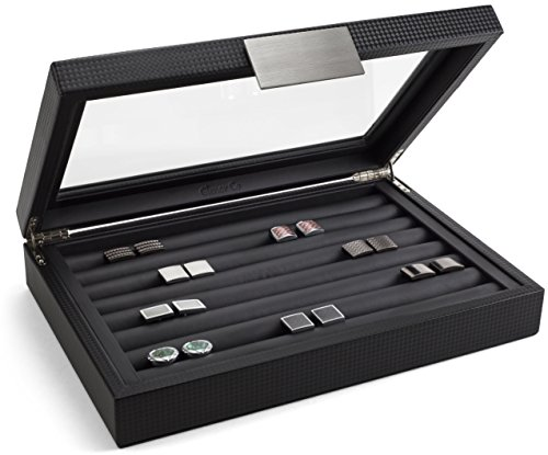 From USA Glenor Co Cufflink Box for Men - Holds 70 Cufflinks - Luxury Display