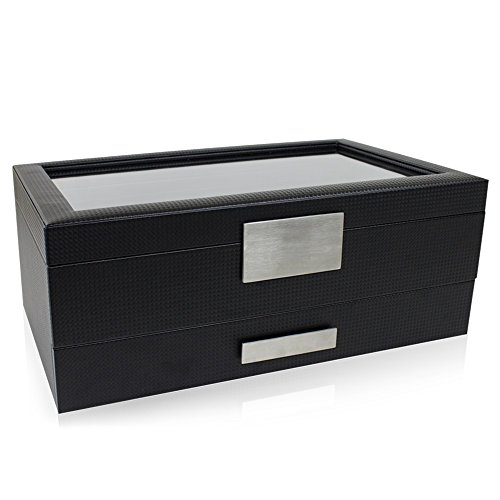 From USA Glenor Co Watch Box with Valet Drawer for Men - 12 Slot Luxury Watch