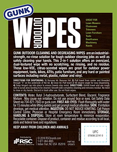 ..../ From USA/ Gunk OPEW75-6PK Wipes 8 x 12 inch, 75-Count, 6 Pack