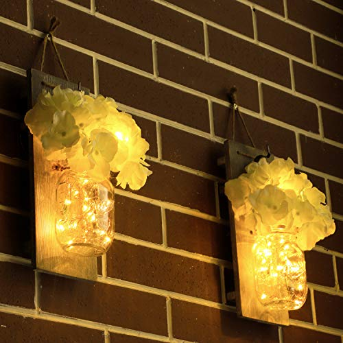 (FROM USA) HABOM Mason Jar Sconce Wall Art Home Decor – Lighted Rustic Count