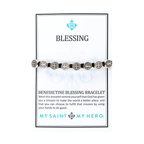 From USA Handwoven Blessing Bracelet with Benedictine Metal Charms