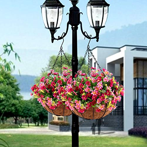 (FROM USA) Hanging Flowers Basket, Artificial Daisy Flowers in Coconut Lining