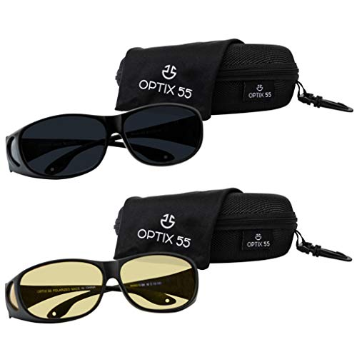 From USA HD Day Night Driving Glasses Fit Over Sunglasses for Men  & Women - A