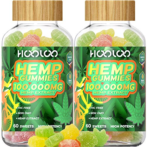 (FROM USA) Hemp Gummies - HOOLOO 100,000MG Fruity Hemp Gummy for Relaxing, Red