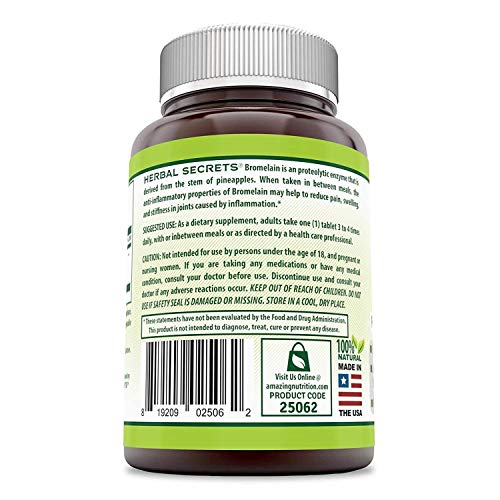 (FROM USA) Herbal Secrets Bromelain 500 Mg 240 Tablets (Non-GMO)- Proteolytic
