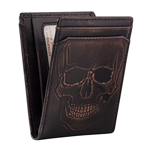 (FROM USA) HOJ Co. SKULL Bifold Front Pocket Wallet | Bifold Wallet With Money