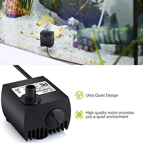 (FROM USA) Homasy 80 GPH (300L/H, 4W) Submersible Water Pump, Ultra Quiet For