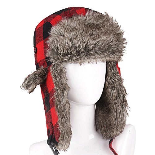 (FROM USA) HOMFUL Unisex Trapper Trooper Hat Hunting Hat for Men and Women Ush