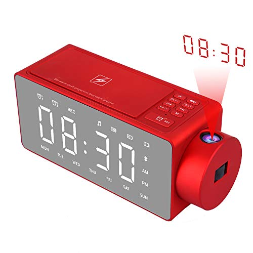 (FROM USA) Htterino Projection Alarm Clock Bluetooth Speaker with Wireless Cha