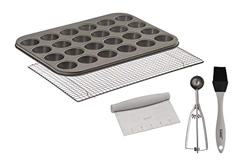 (FROM USA) husMait Bakeware 5 Piece Set (Flour Scraper + Cookie Scoop + Coolin