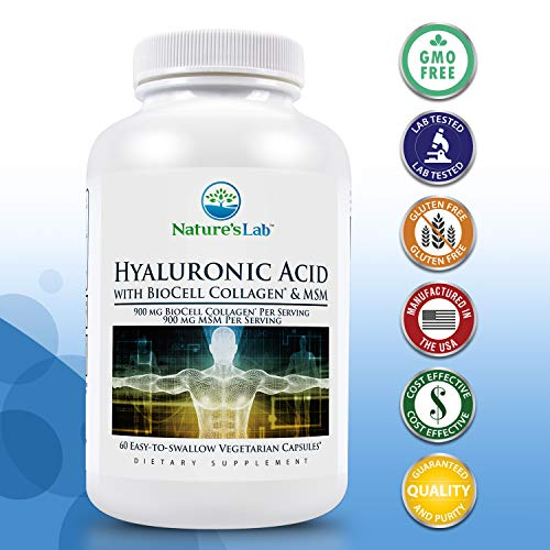 (FROM USA) Hyaluronic Acid with Biocell Collagen and MSM - 60 Capsules (20 Day