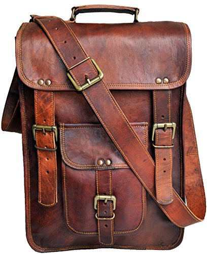 "(FROM USA) Jaald 15 "" leather messenger bag laptop case office briefcase"