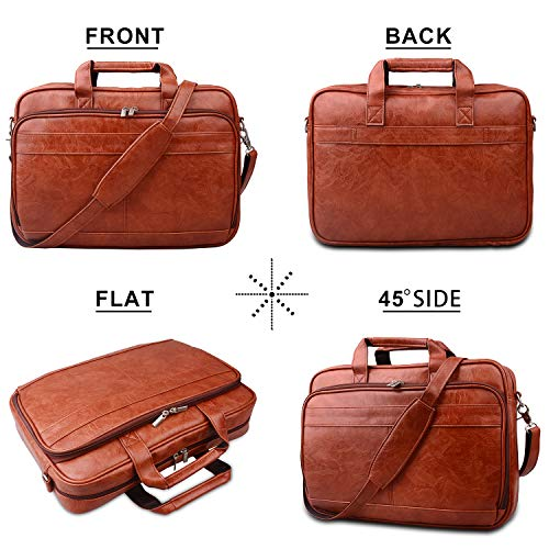 "(FROM USA) Jack &Chris PU Leather Briefcases for Men 14 "" Laptop Messenge"