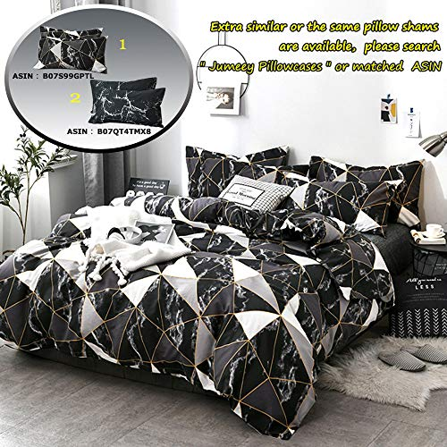 [From USA]Jumeey Black Marble Duvet Cover Bedding Set Queen Geometric Soft Lig