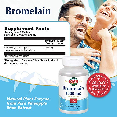 (FROM USA) KAL Bromelain Tablets, 1000 mg, 90 Count
