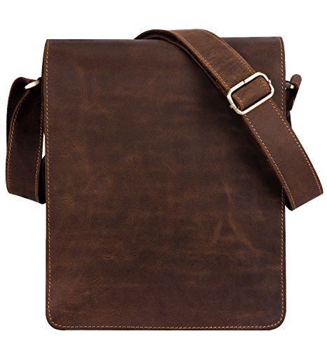"(FROM USA) Kattee Vintage Leather Flapover Messenger Bag Fit 10 "" Laptop"