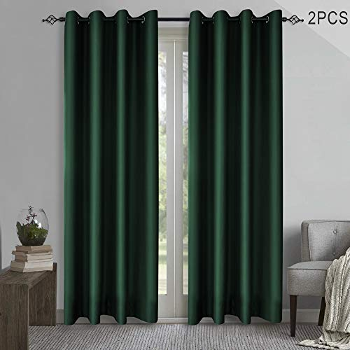 (FROM USA) KEQIAOSUOCAI Blackout Green Window Curtains Room Darkening Curtain