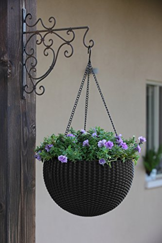 (FROM USA) Keter Resin Rattan Set of 2 Round Hanging Planter Baskets for Indoo