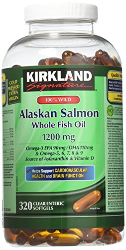 (FROM USA) Kirkland Signature 100% Wild Alaskan Salmon Oil 90 EPA 110 DHA 1200