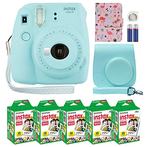 From USA  & Korea Fujifilm Instax Mini 9 Instant Camera Ice Blue with Custom C