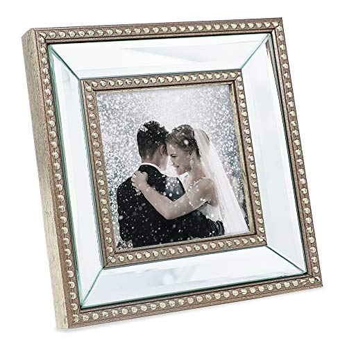 (FROM USA) Laura Ashley 4x4 Champagne Mirror Bead Picture Frame, Classic Mirro