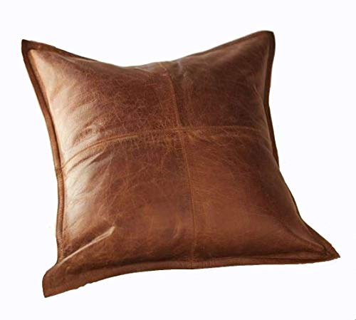 [From USA]Leather Lovers 100% Lambskin Leather Pillow Cover - Sofa Cushion  Cas